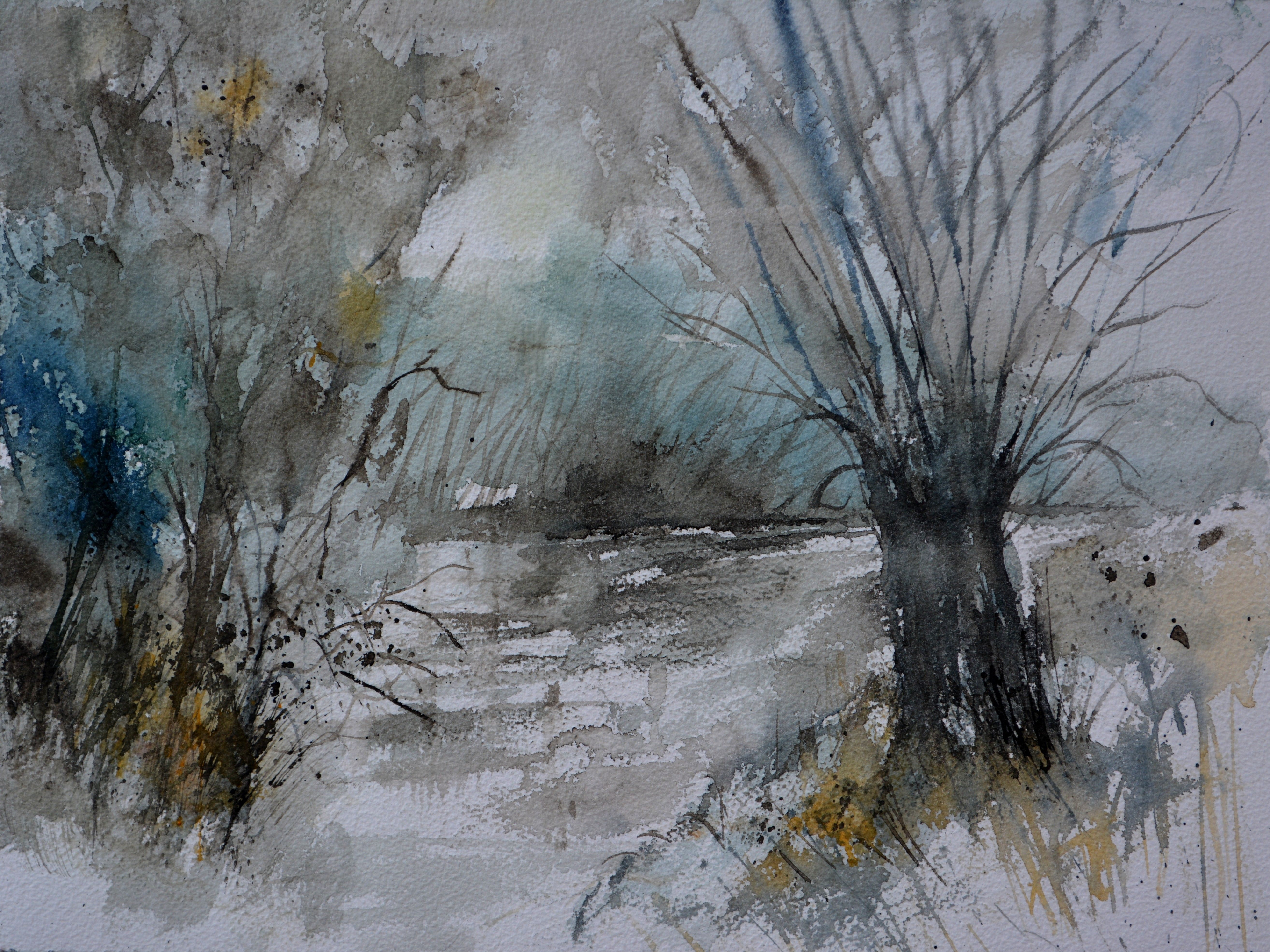 Original watercolor art for sale - Pol Ledent Artwork Watercolor 71101 For Sale And Offering More Original Artworks In Textile Medium And Landscape Theme