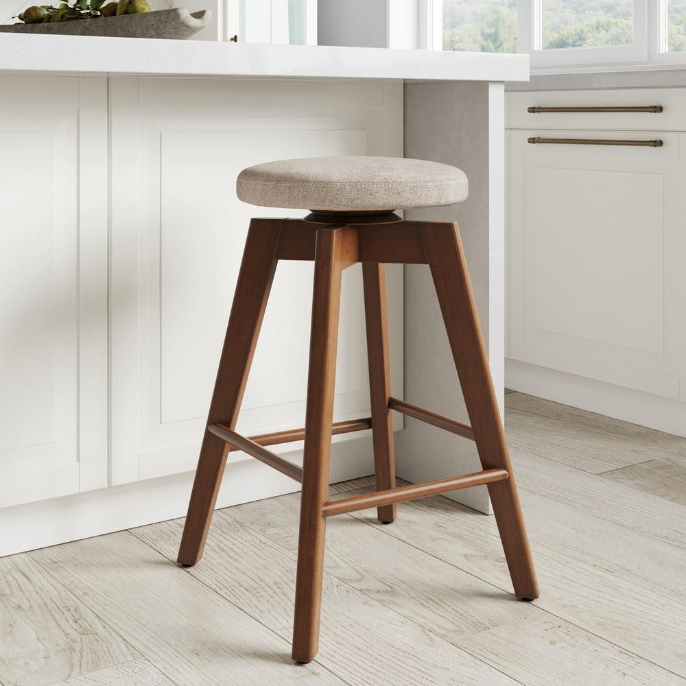Aries Swivel Backless Bar Stool 30 In Seat Height Backless Bar Stools Counter Stools Backless Backless Bar Stools Wood
