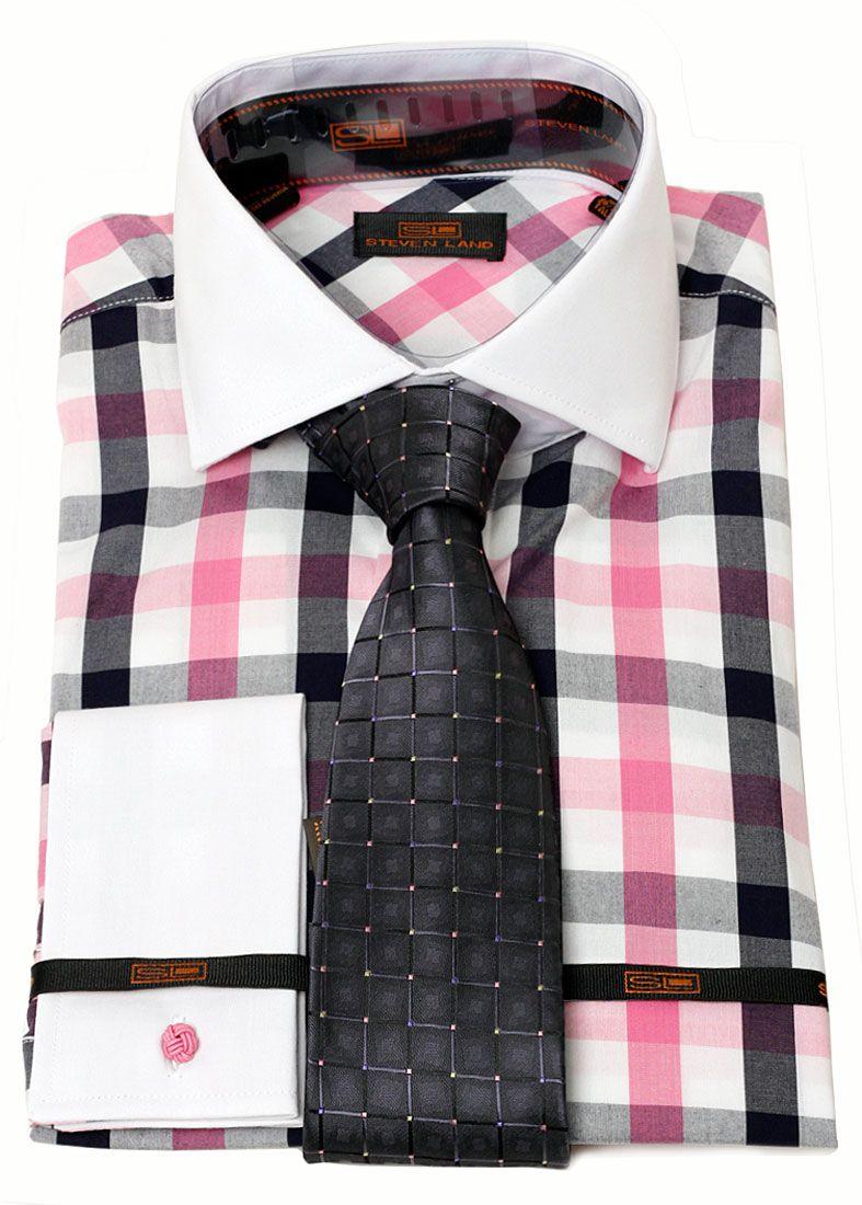 Steven Land Mens Pink Black Check Dress Shirt Brand Q Tie Combo