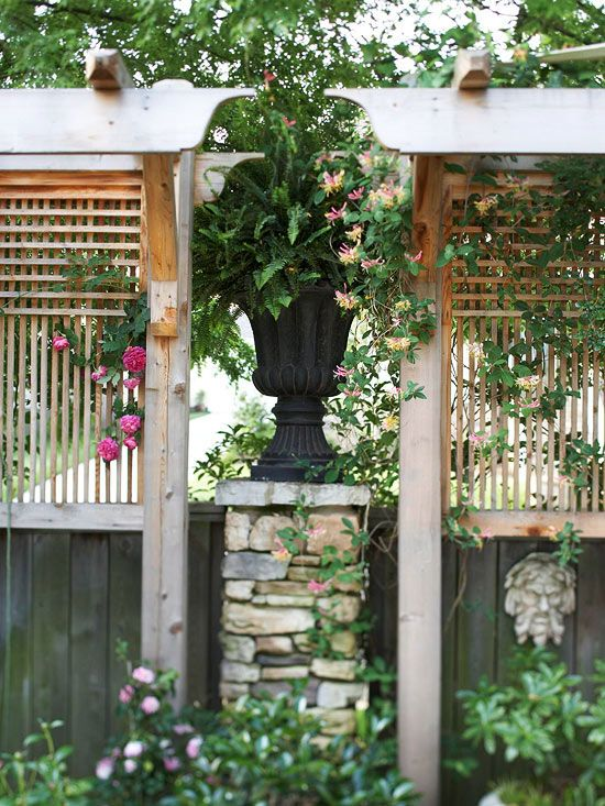 Use Trellis And Urn On Fence Support To Add Privacy Not Violate City Code For Height