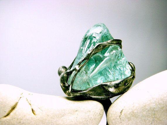 Aqua Ring  Raw Aquamarine Ring  Raw Gemstone Ring  by AMWatelier, $47.00