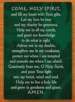 Come holy spirit i got this prayer card as a confirmation gift come holy spirit i got this prayer card as a confirmation gift and i negle Choice Image