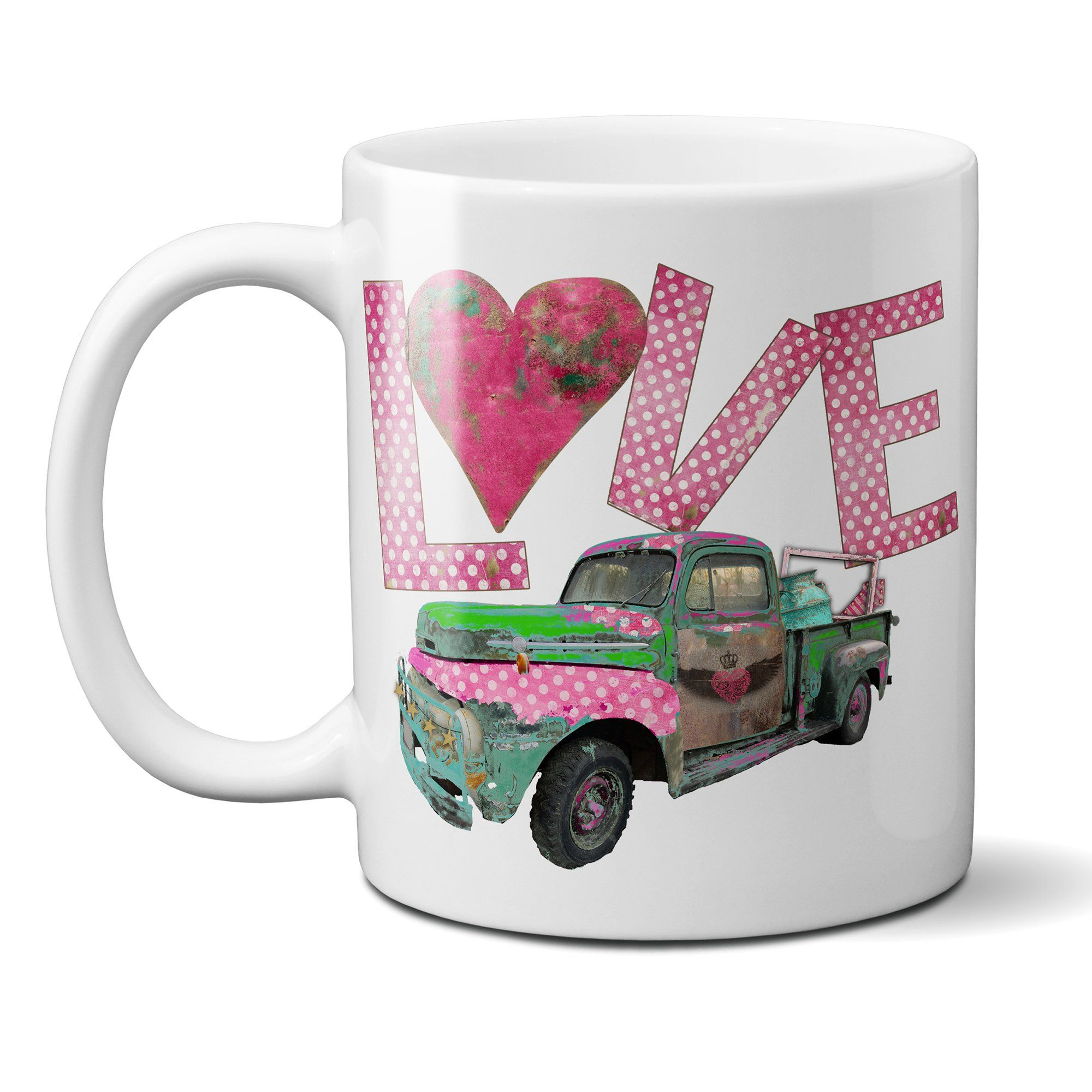 Junk Truck Love Coffee Mug with Vintage Rusty Junk Truck