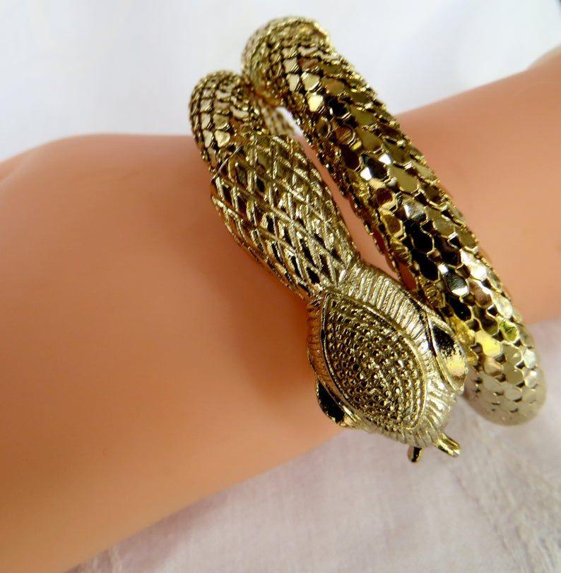 Vintage Mesh Snake Bracelet Egyptian Revival Wrap