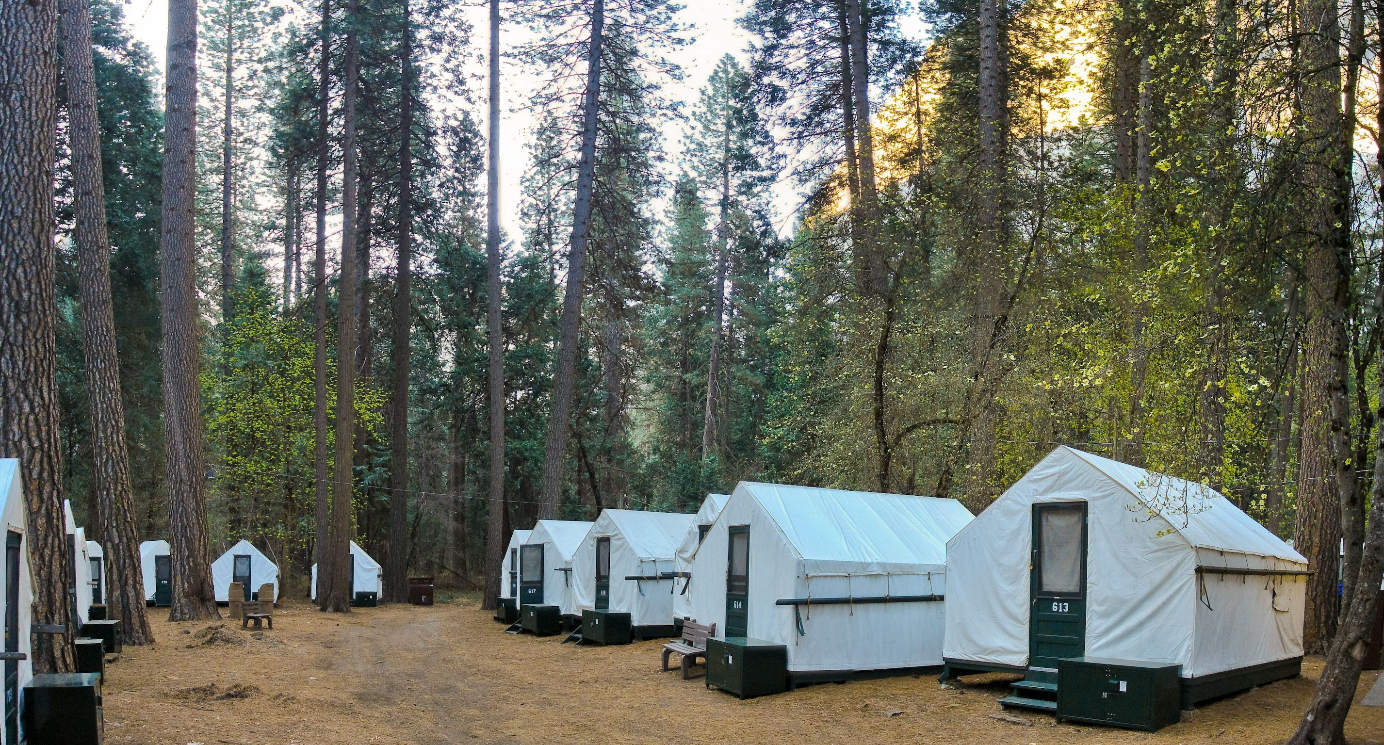 Canvas tents in Curry Village in Yosemite National Park. & Half Dome Curry Village Yosemite glamping | Glamping Trips ...