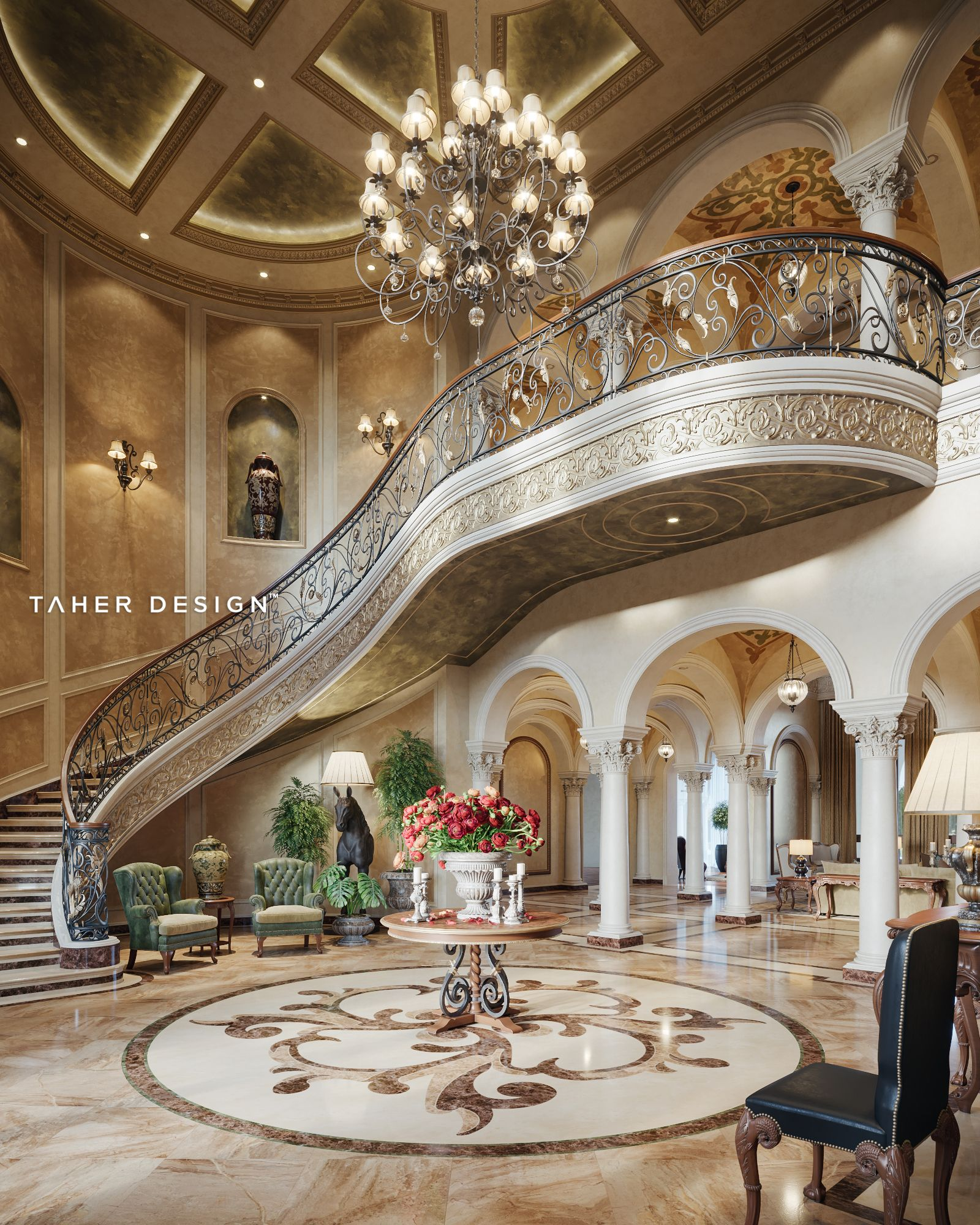 Luxury Homes Interior Design Photos: Grand Foyer Design For Luxury Mansion Located In (Dubai