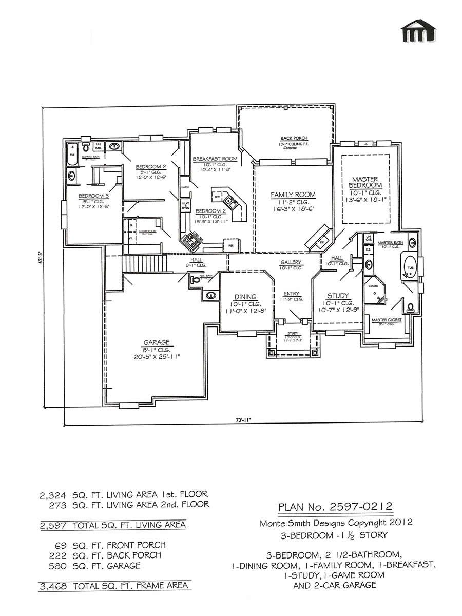 2597 0212 3 Room House Plan Contemporary House Plans Bedroom Floor Plans Bathroom Floor Plans