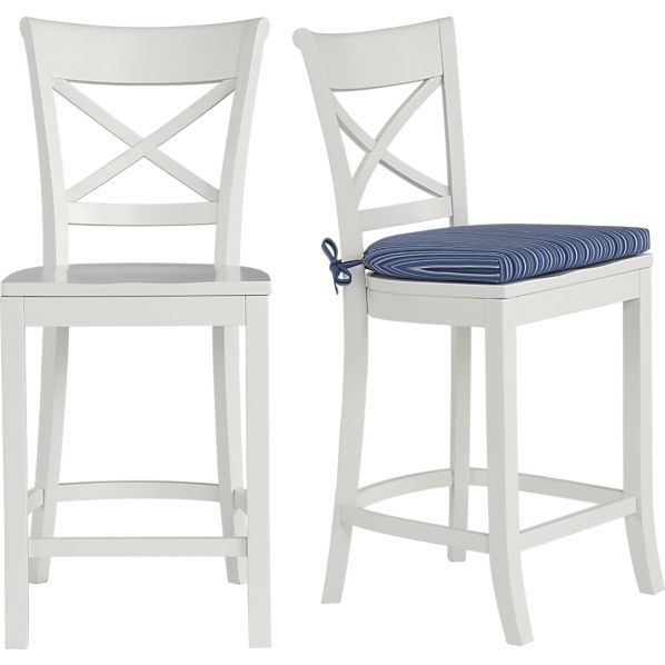 Vintner White Barstool And Indigo Stripe Cushion In Dining