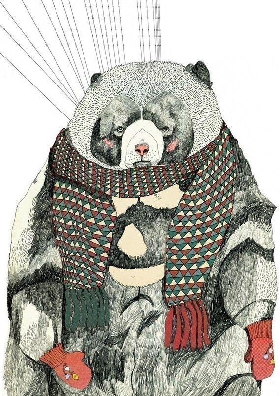 Snug Woolly Bear A3 Print by Juliapott on Etsy