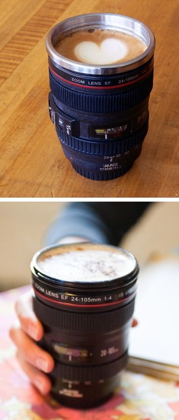 Camera lens coffee mug // perfect gift for a photographer! #product_design #stockingstuffer