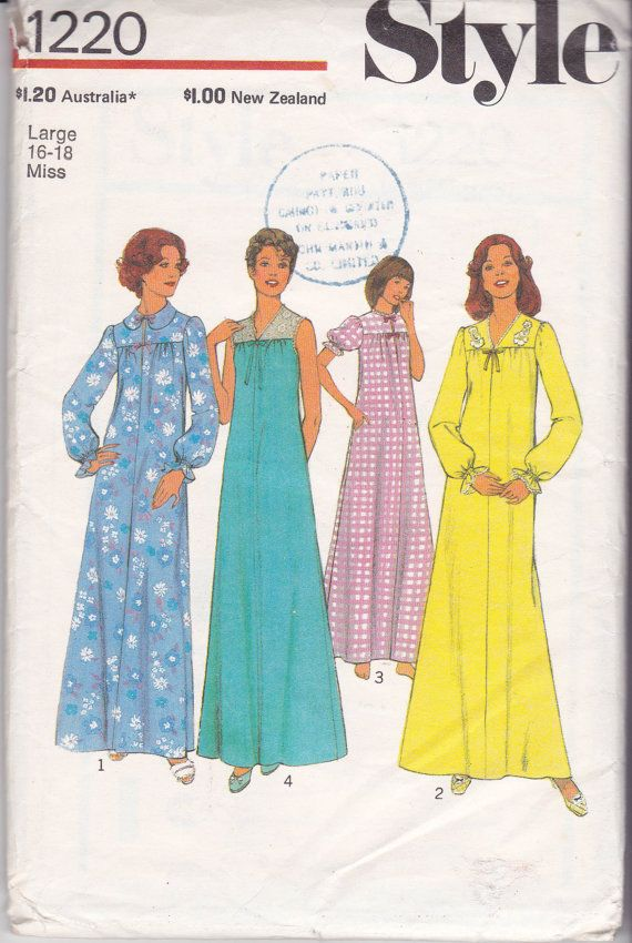 Style 1220 Womens Retro Nightdress Womens Sleepwear Nightgown 70s ...