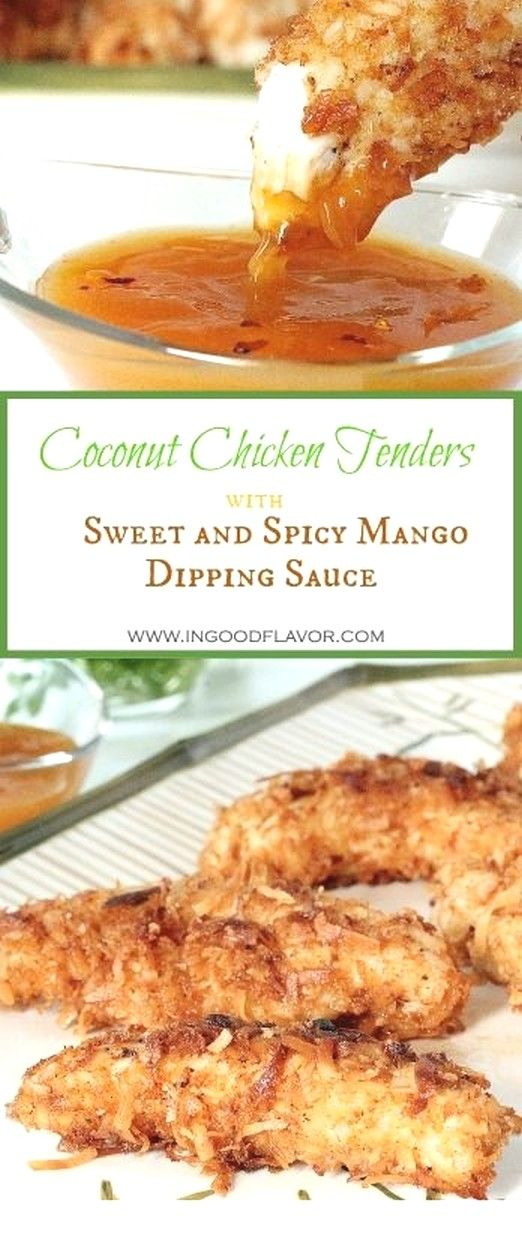 Coconut Chicken Tenders With Sweet And Spicy Mango Dipping Sauce | Chicken Recipes #chickenparmesan