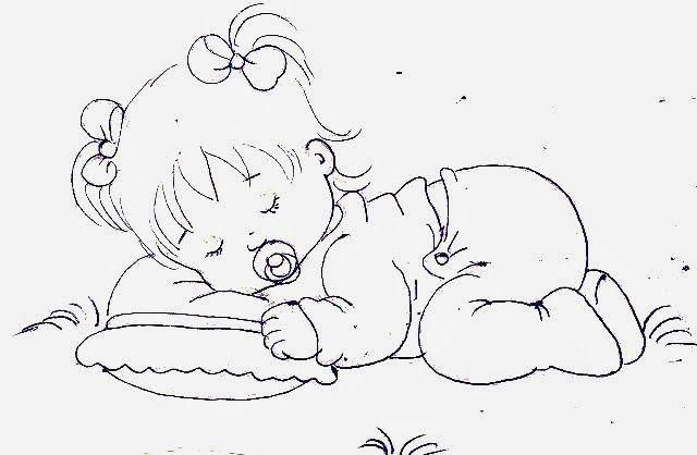 desenho bebe menina dormindo com chupeta e travesseiro