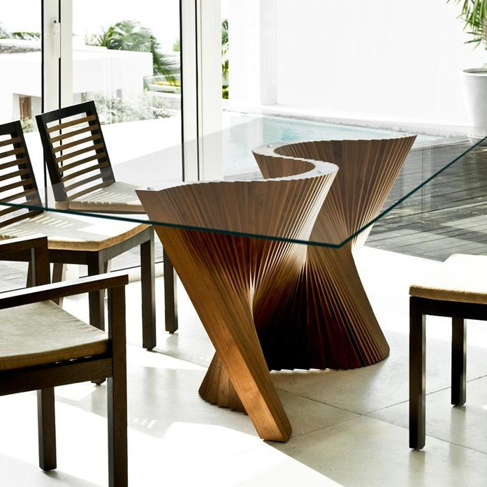 Mesa de comedor moderna de vidrio de nogal wave for Diseno de comedores modernos