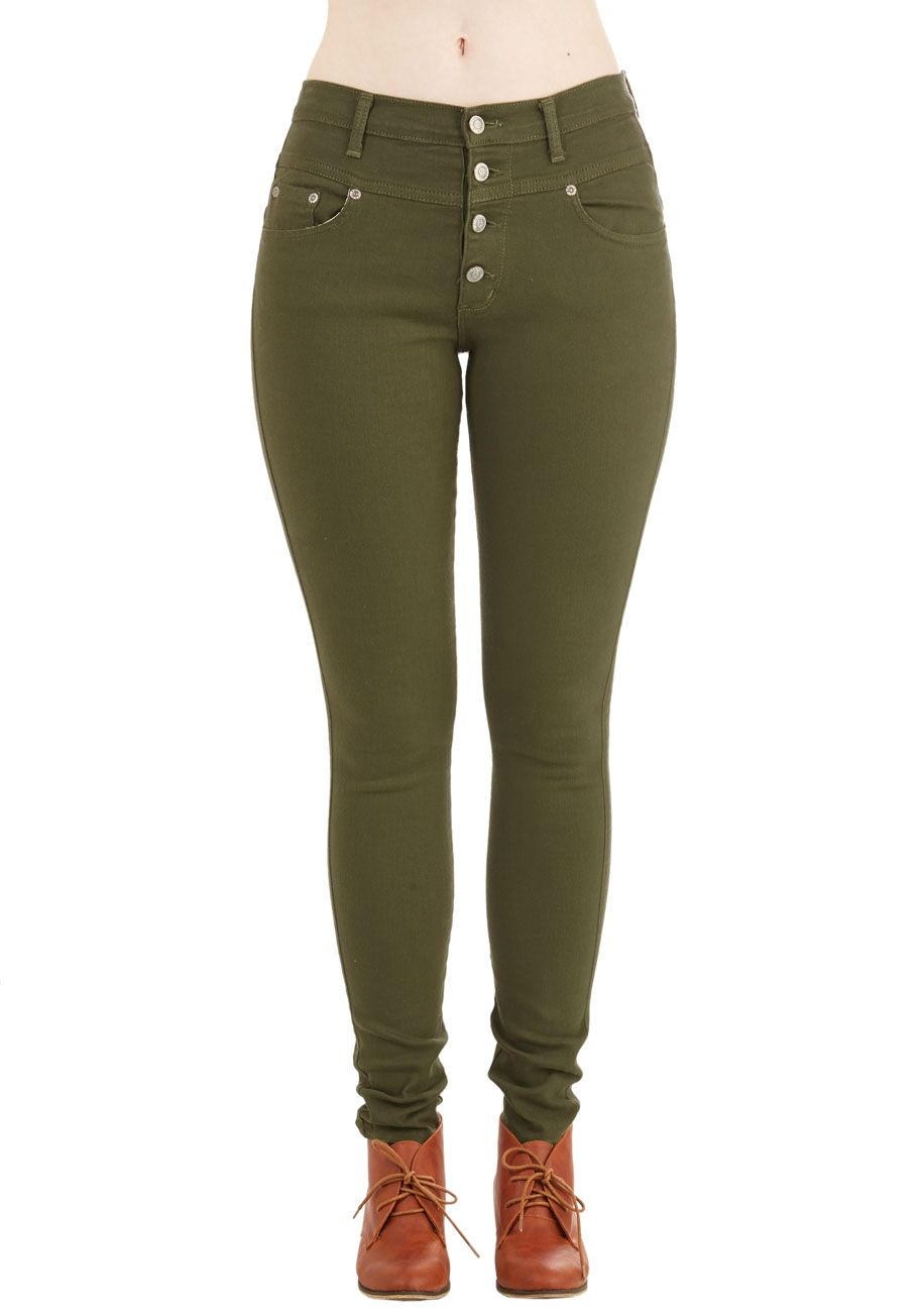 Karaoke Songstress Jeans in Olive. Step into the karaoke spotlight in these denim skinnies! #green #modcloth