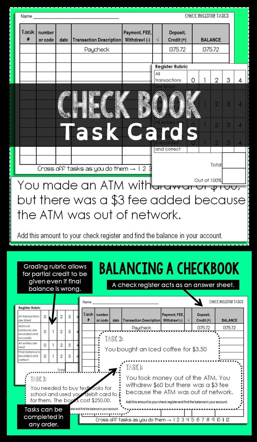 Checkbook Task Cards  Check Register Math And Students