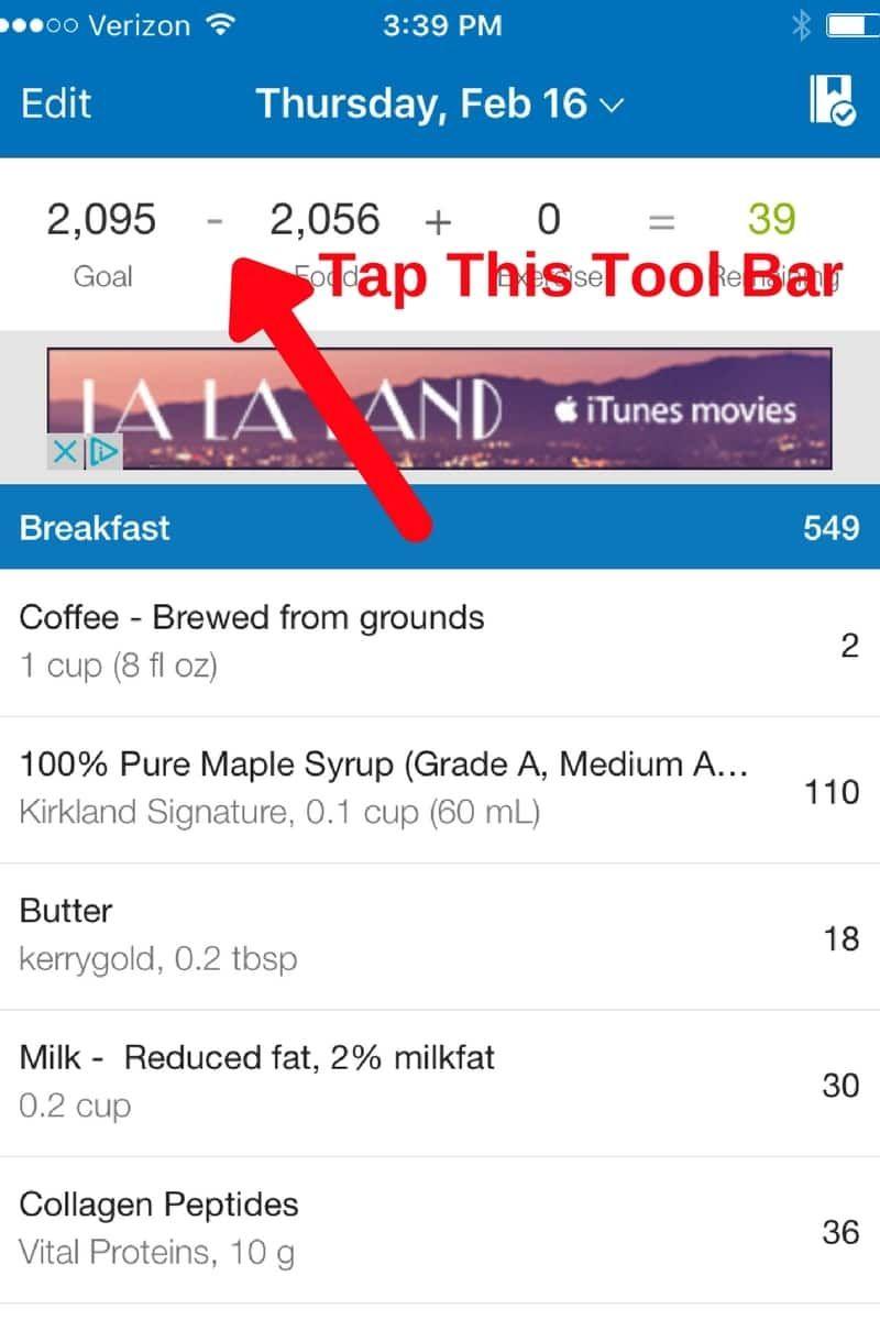 MyfitnessPal tips Create a recipe, Nutrition data