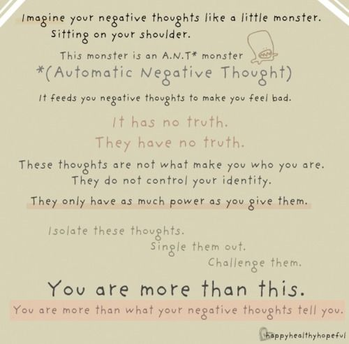 you are more than your thoughts Pinned says good therapy for – Automatic Negative Thoughts Worksheet