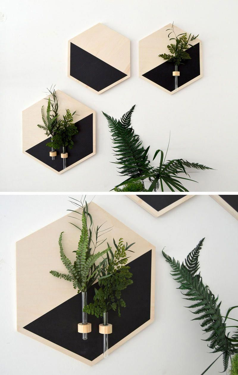 Perfect In Any Modern Room These Wood Wall Vases Standout Due To The Matte Black Painted Sections That P With Images Wall Mounted Vase Wall Vase Geometric Decor