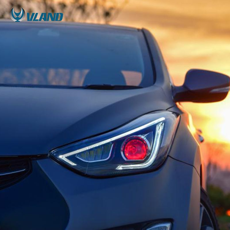 The Item Is Vland Hyundai Elantra Head Lamp The Color Is Black Housing Vland Carlamp Ledheadlamp Ledheadlight Ledtai Hyundai Elantra Elantra Hyundai Cars