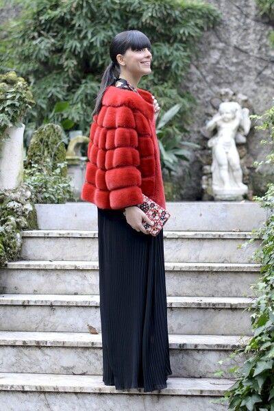 Long black dress faux fur jacket 2