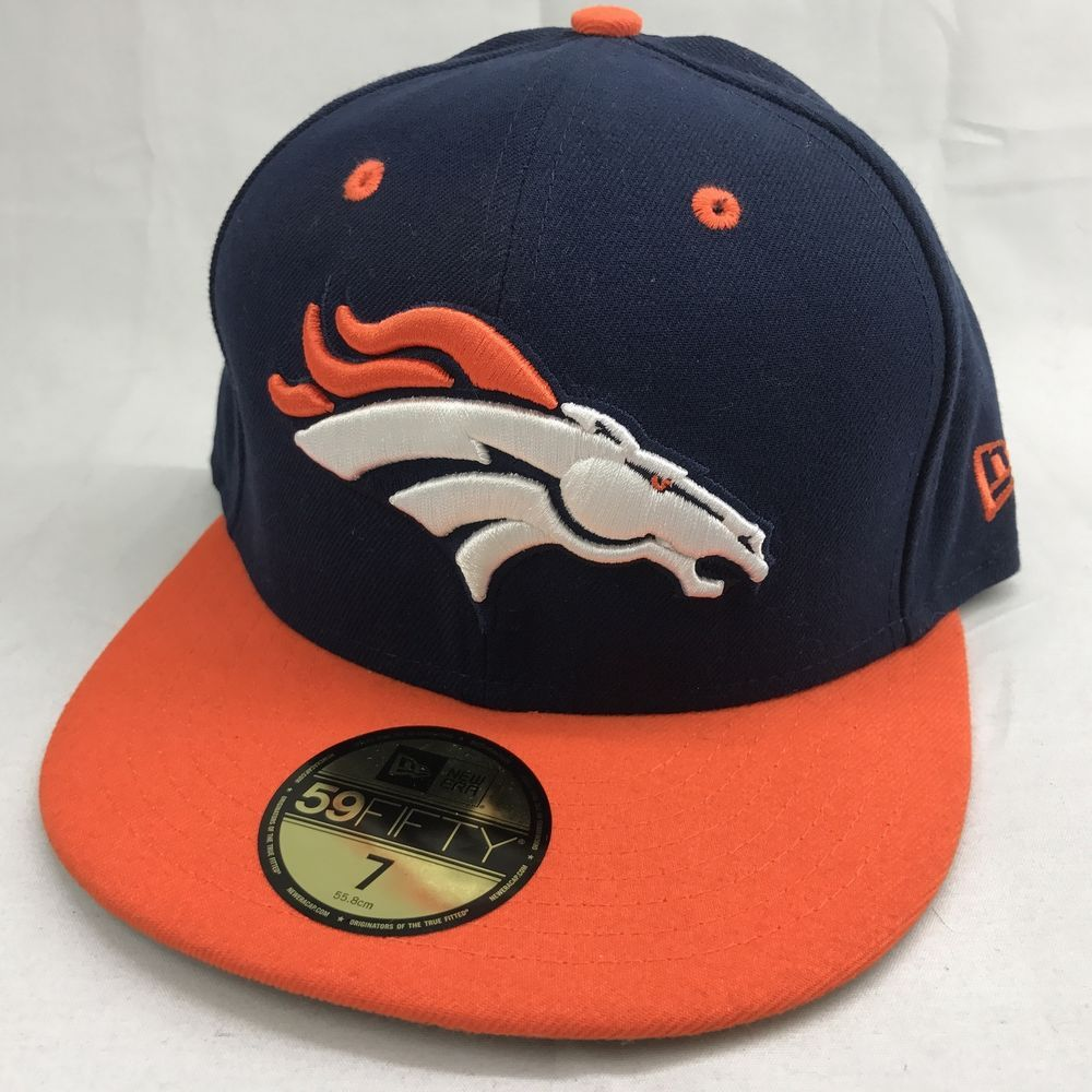 bc186e86f78 Denver Broncos Cap Hat New Era 59Fifty NFL Embroidered Navy-Orange Fitted  Sz 7