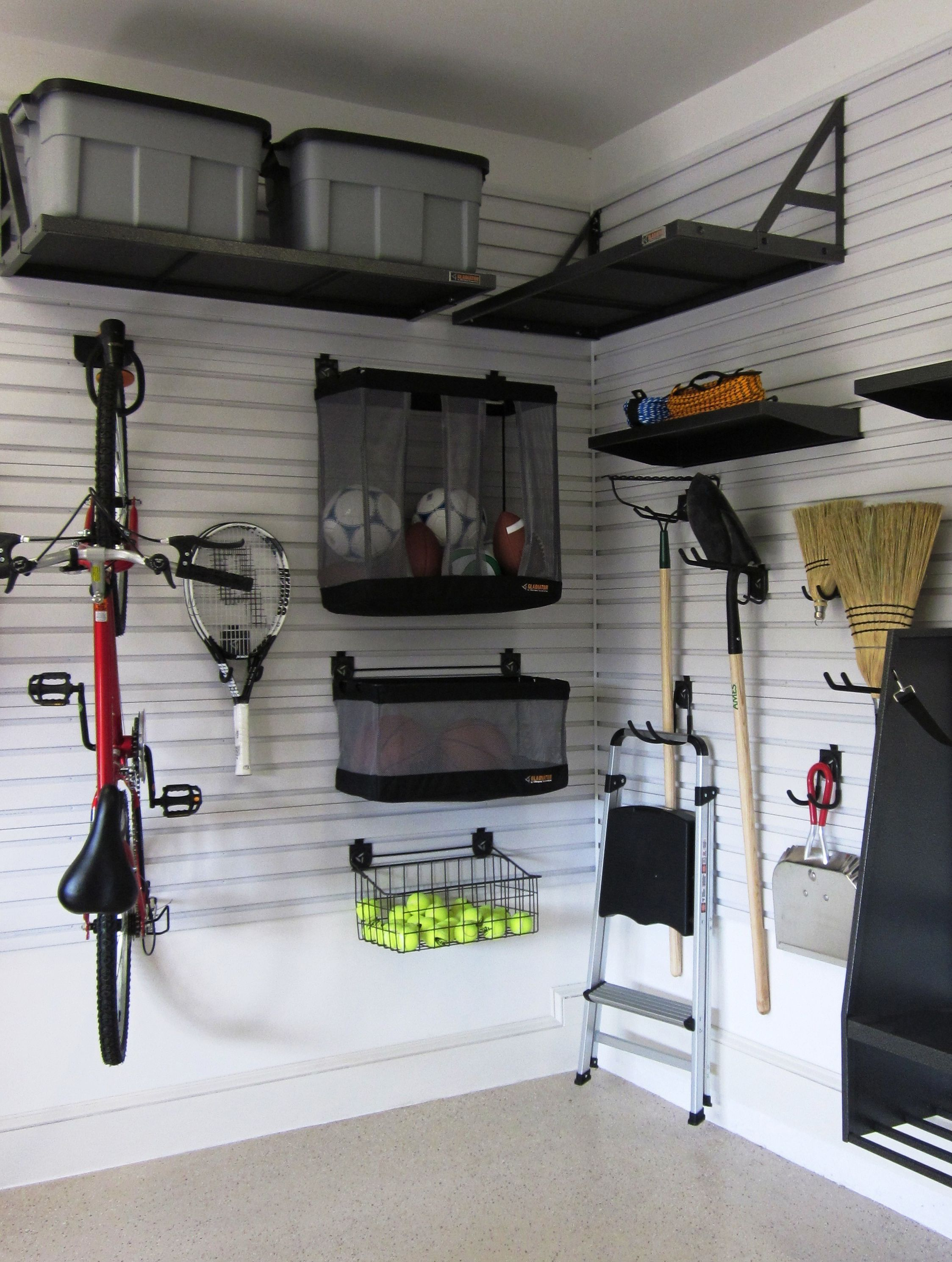 Now This Is A Cool Way To Organize Your Garage It Leaves Tons Of Space To Store Your C Gladiator Garage Storage Garage Storage Systems Garage Storage Cabinets
