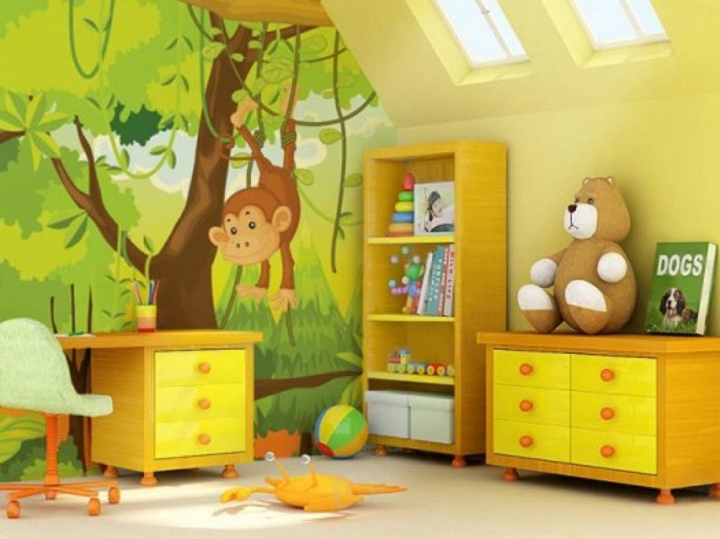 Retro Kids Room Cartoon Jungle Wallpaper Ideas For Wall With Chic Concept With Fluorescent Tone