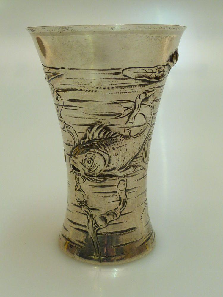 details zu silber jugendstil becher vase fisch copenhagen. Black Bedroom Furniture Sets. Home Design Ideas