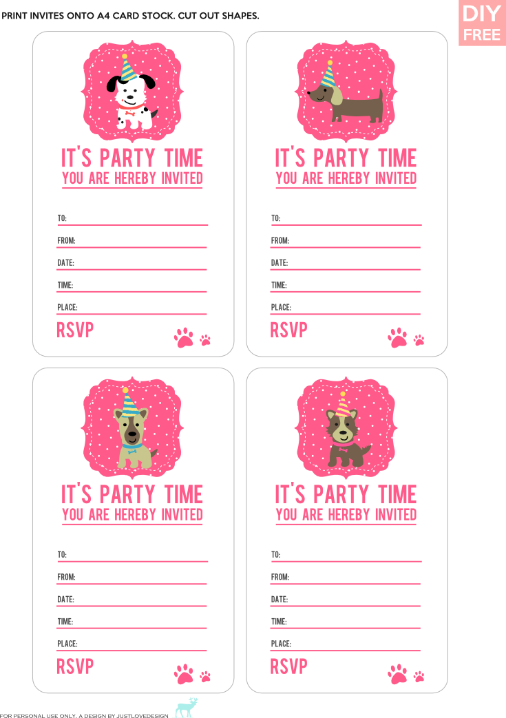 DIY FREE DOGGY PARTY INVITES Simple invites for a doggy party ...