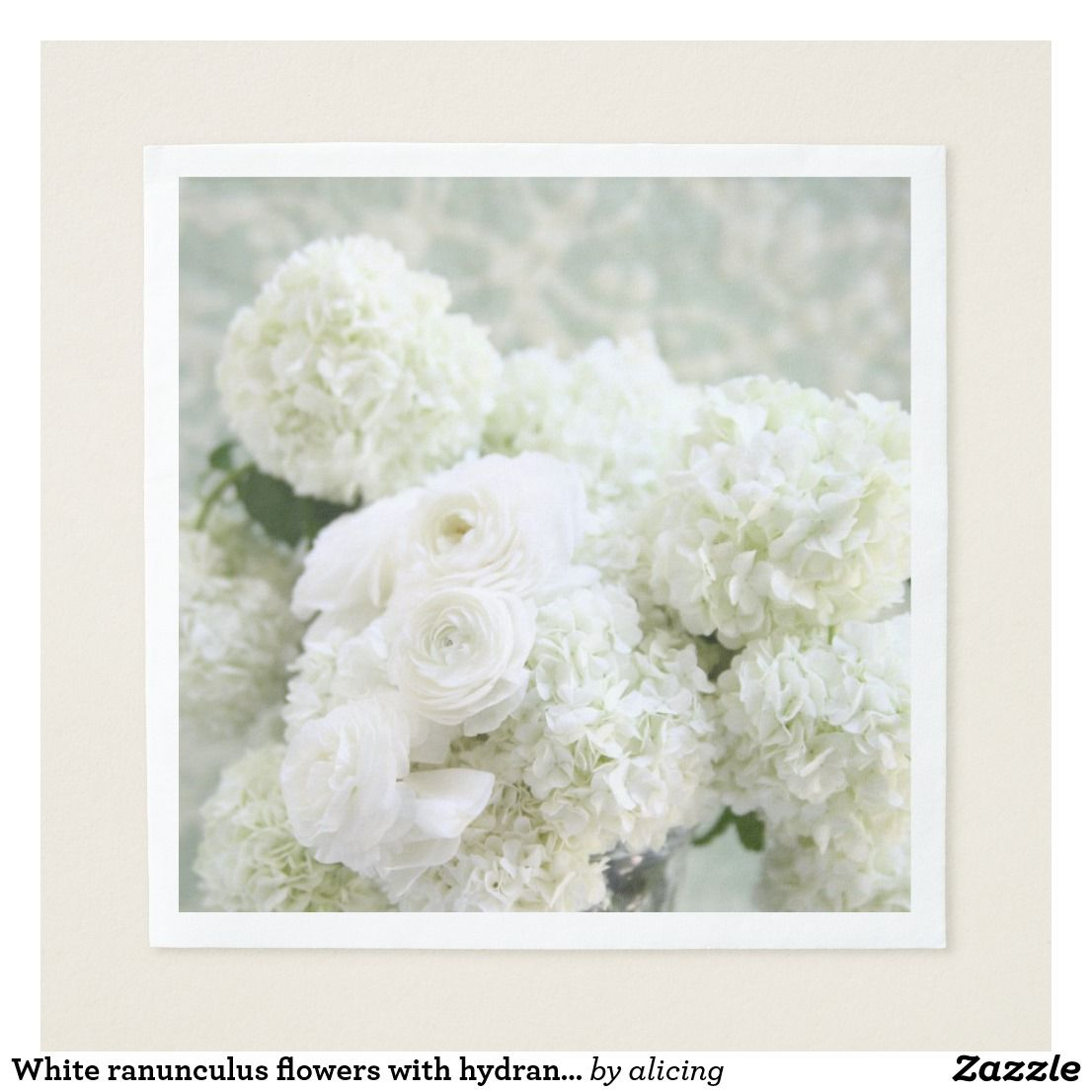 White Ranunculus Flowers With Hydrangeas Napkin Ranunculus Flowers