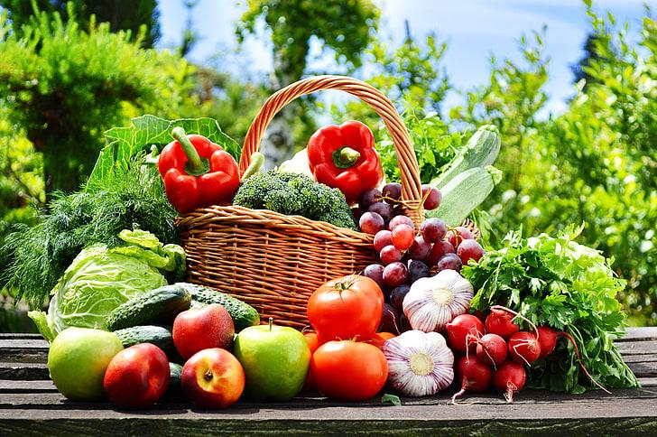 Hd Wallpaper Assorted Fruits And Vegetables Nature Basket Apples Grapes Wallpaper Flare Benefits Of Organic Food Vegetables Grape Apple