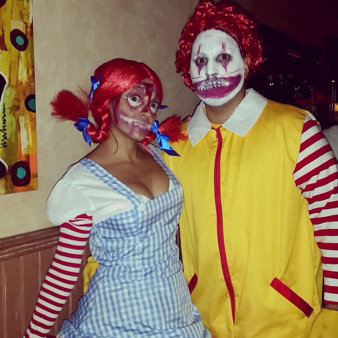 2014 halloween makeup demented versions of ronald and wendy fast food mascots it took me about 2 3 hours to do our makeup