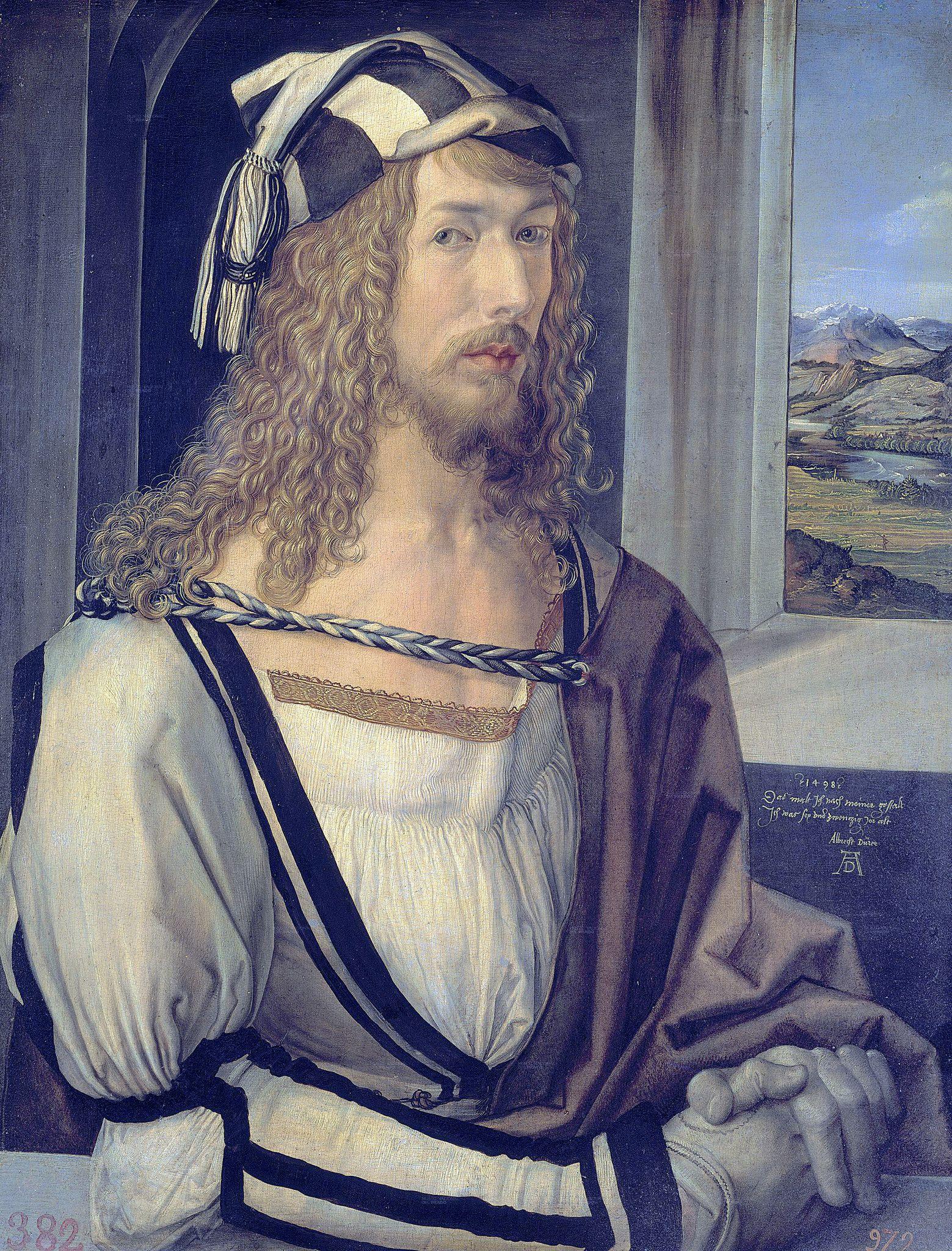 https://flic.kr/p/bYx25J   Dürer: Self-portrait with gloves [1498]   Albrecht Dürer [1471-1528] AD 1498 - Selbstbildnis 1c uhr -  Madrid Prado