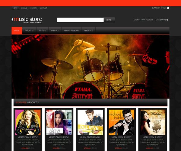 Music Store Website Template | Free Music Website Templates ...