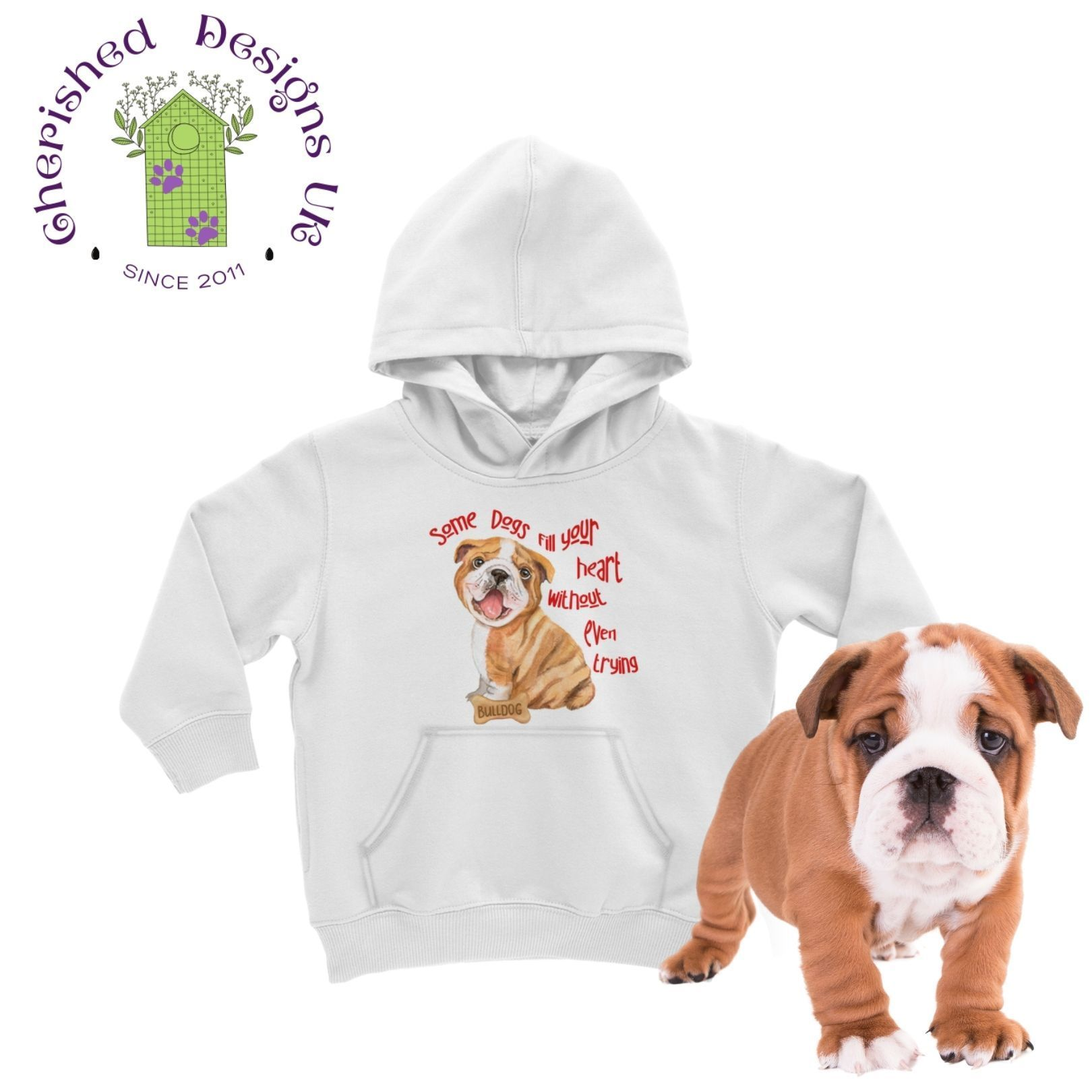 Some Dogs Bulldog Kids Hoodie - White / 12 to 13 Years
