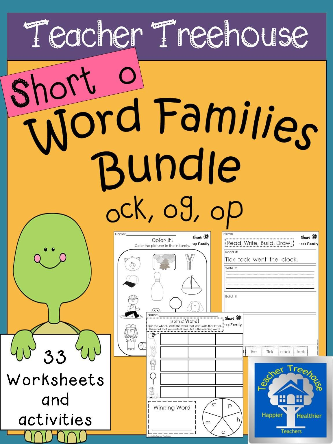 Short I Word Families Worksheets Bundle Ick Family In Family Ip Family