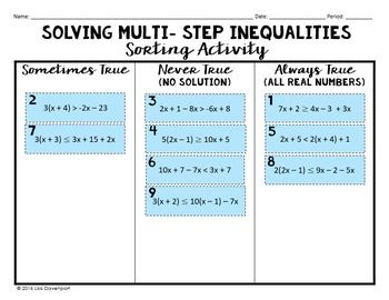 Solving Multi Step Inequalities Sorting Activity All Real Numbers No Solution Multi Step Inequalities Sorting Activities Education Math