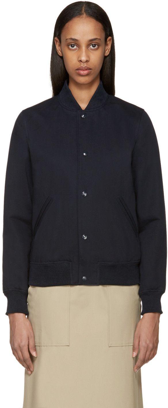 A P C Navy Avengers Bomber Jacket Bomber Jacket Jackets Wardrobe [ 1412 x 584 Pixel ]