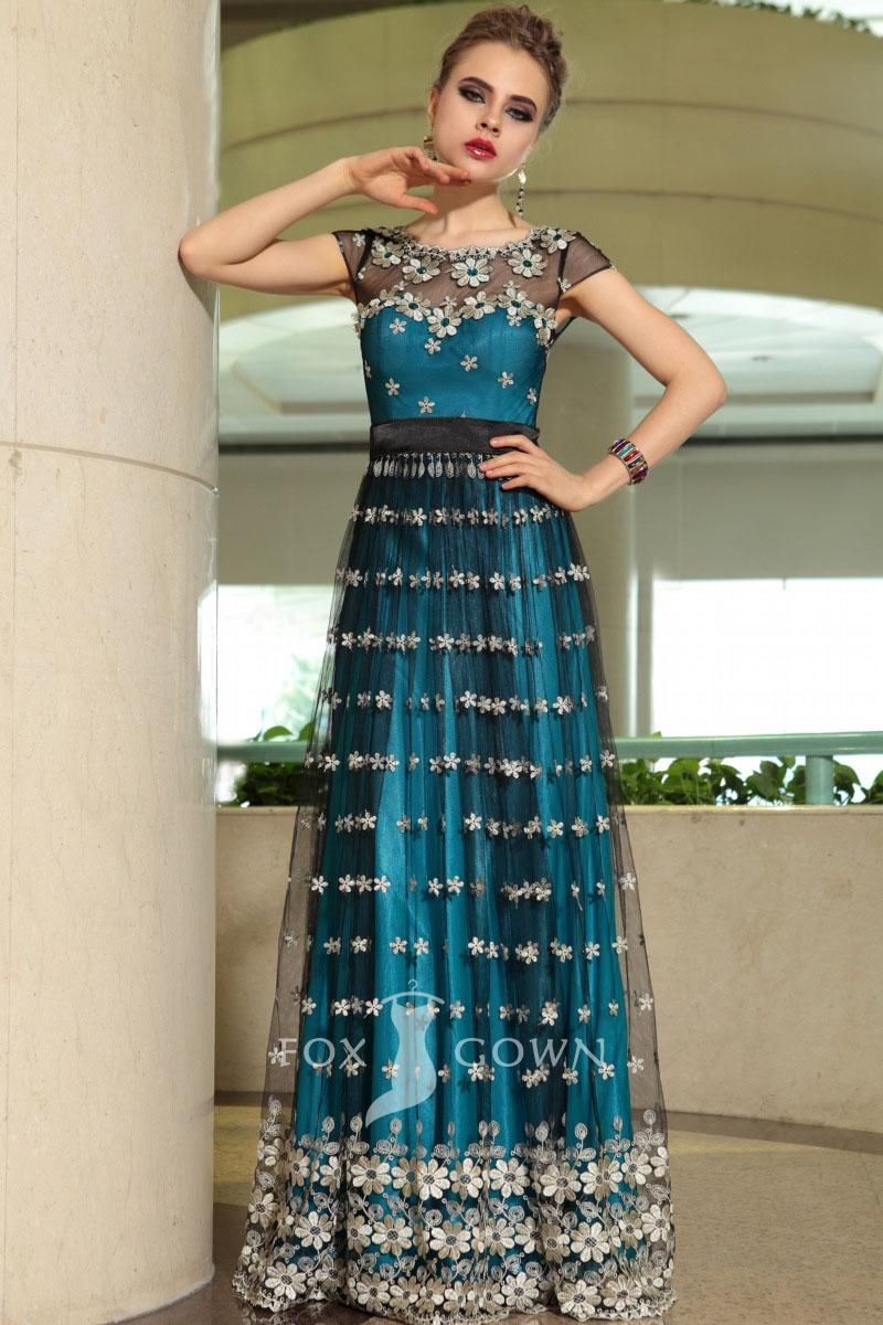 Unusual peacock blue floral sheer cap sleeve floor length aline