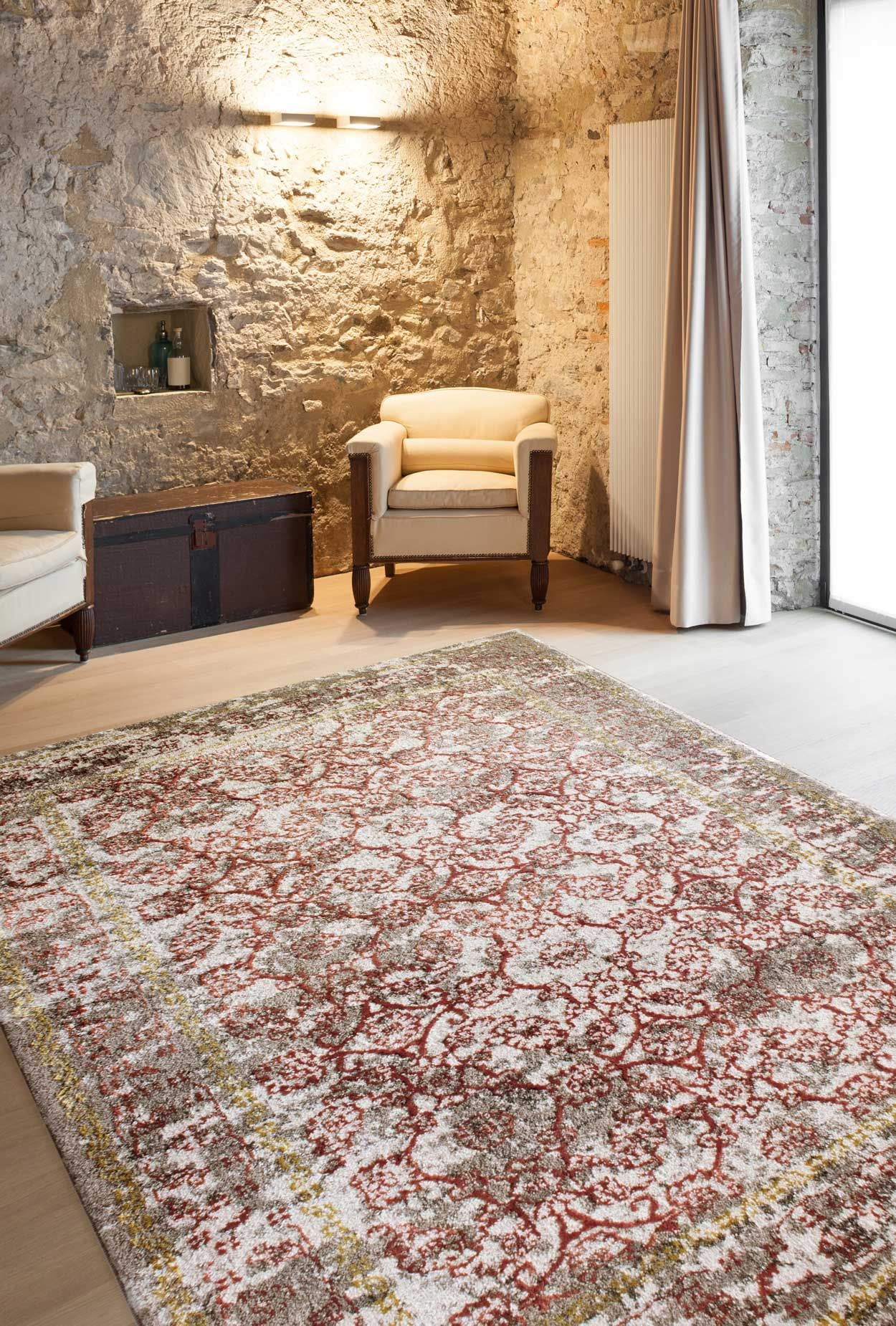Moderne Teppiche fr Wohnzimmer  Zara Kollektion  gelb beige rot  myneshomede  Kollektion