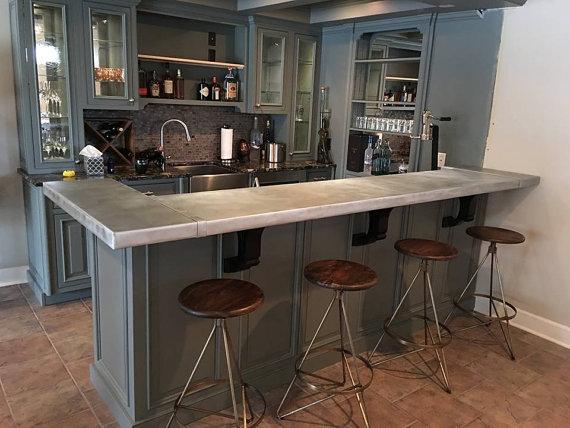 Custom Zinc Bar Comptoir De Haut Home Bar Counter Kitchen Design Bar Counter Design