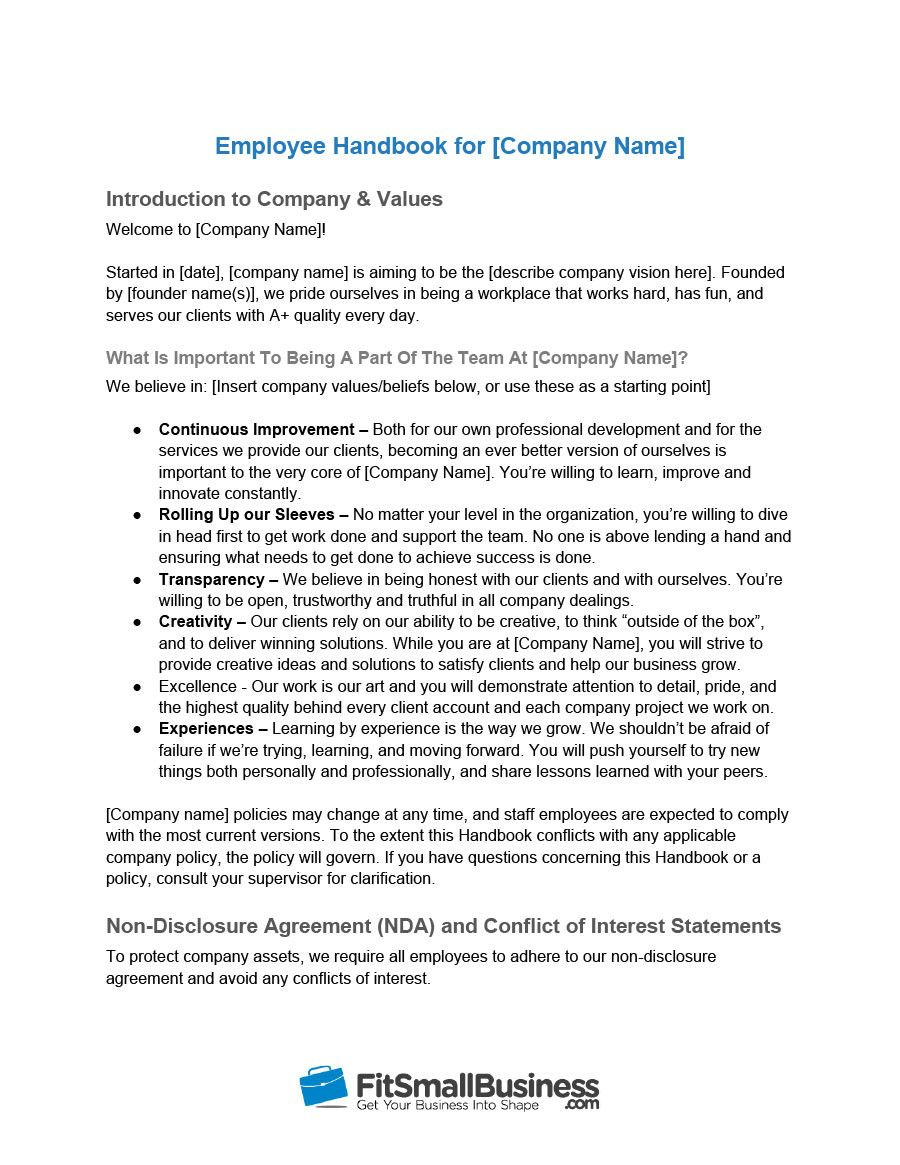 Awesome Free Employee Handbook Template Word Employee Handbook Template Employee Handbook Job Application Cover Letter Small business employee handbook template