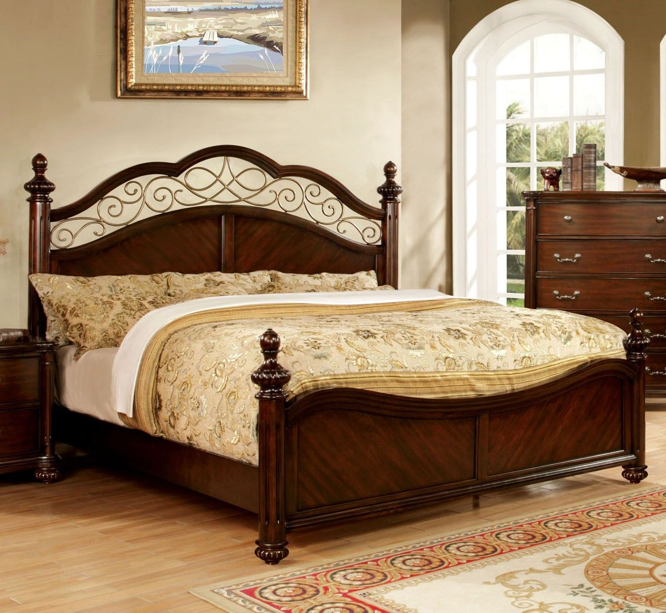 Moab CM7278Q Traditional Dark Cherry Wood Queen Bed King