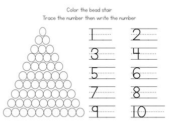 Colored bead stair worksheets | Montessori, Worksheets and Numbers