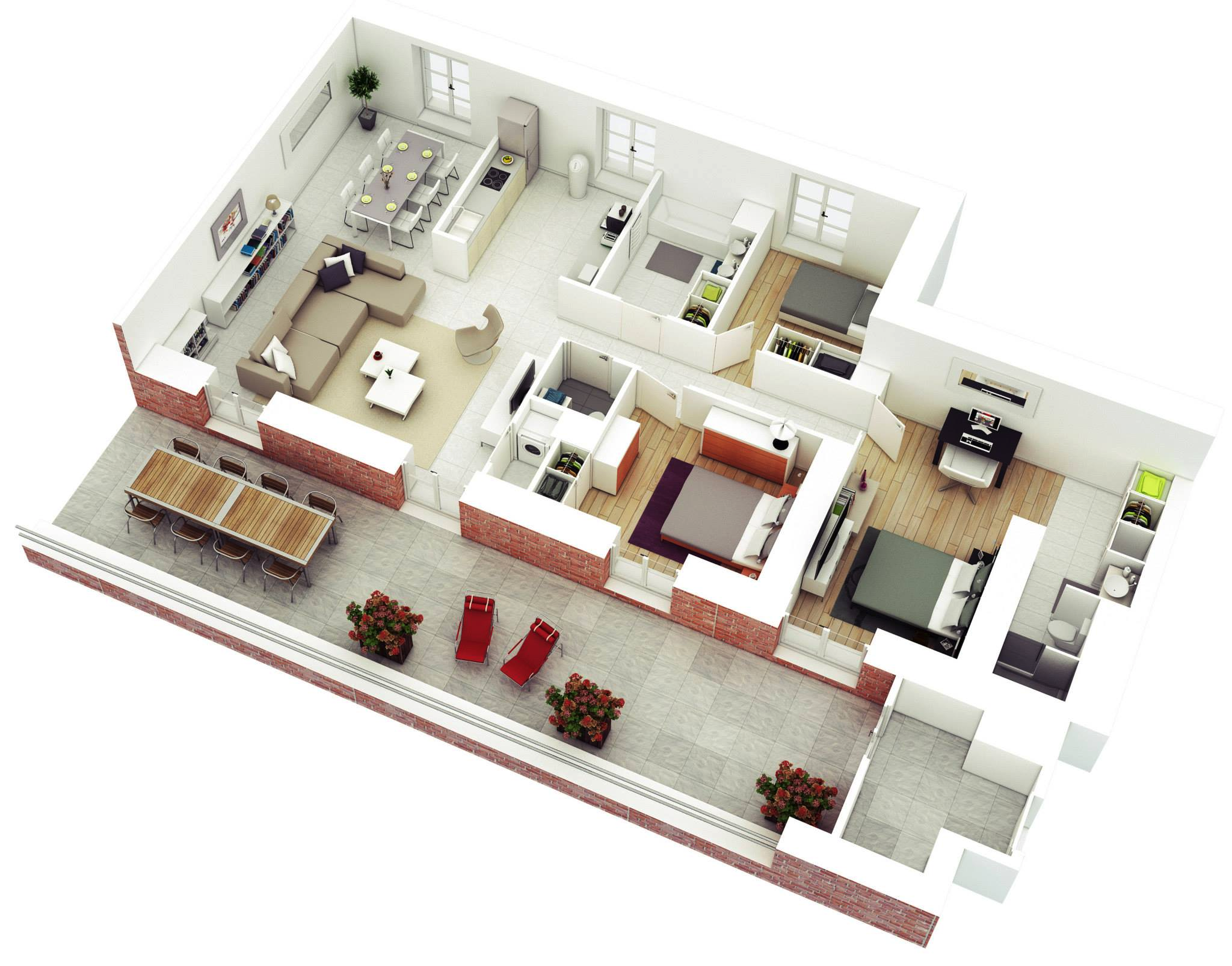 25 More 3 Bedroom 3D Floor Plans | 3d house plans, Modern ...