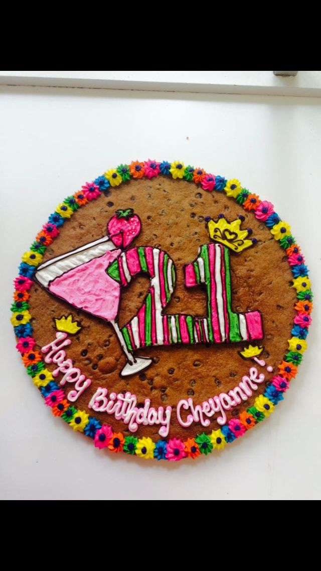 21st Birthday Theme Cookie Cake