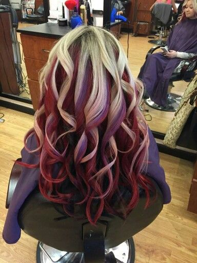Blonde top, red middle, dark brown bottom.. with pops of ...