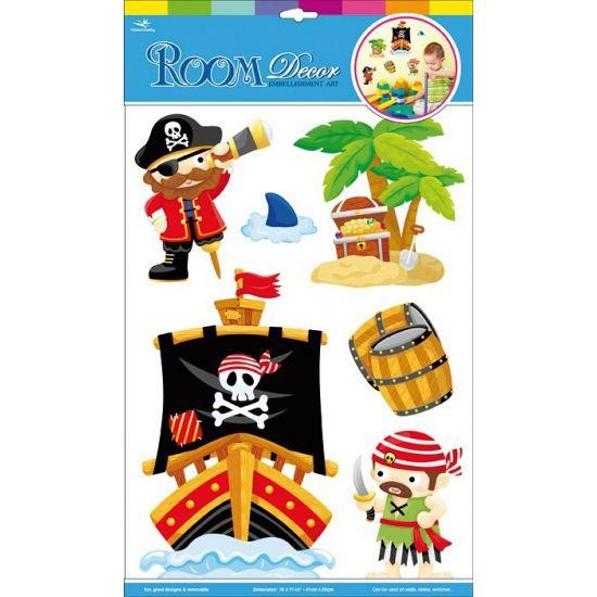 Muurstickers piraten. Set van 6 decoratie muurstickers in piraten thema. Het vel waar alle stickers op zitten is ongeveer 17 x 27 cm groot.