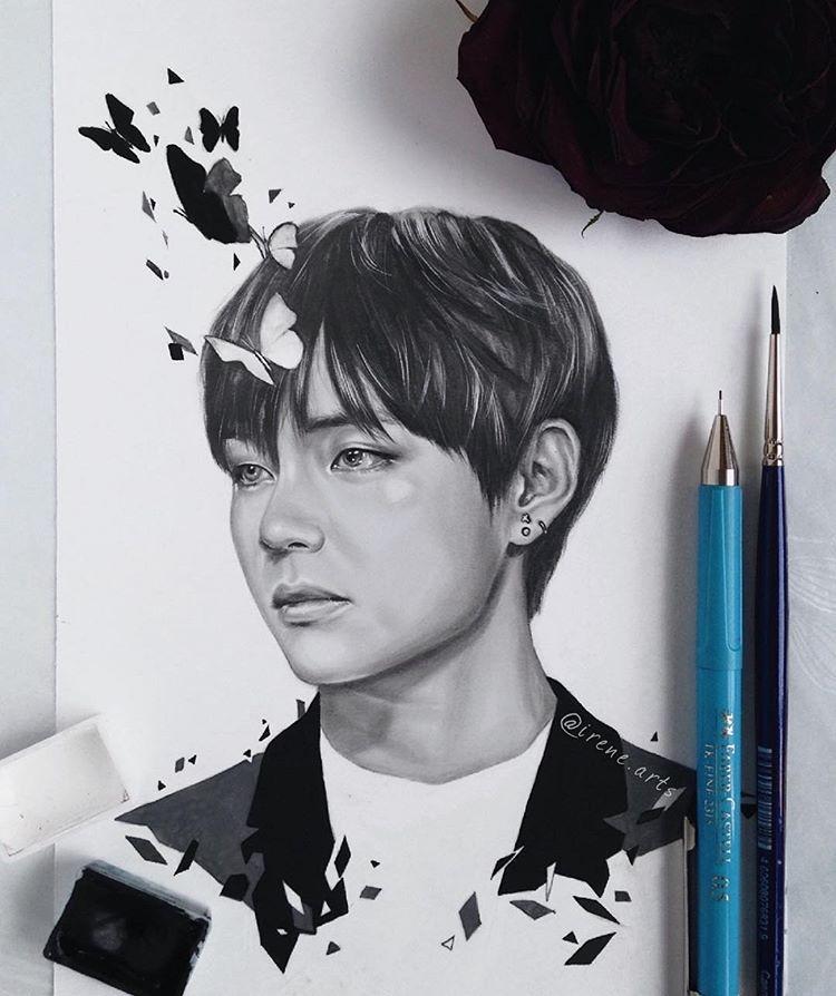 pop art kpop fanart drawings taehyung bts sketches draw art drawings line drawings